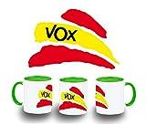 MERCHANDMANIA Taza Verde Partido VOX Bandera ESPAÑOLA Color mug