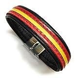 YOJAN PIEL Pulsera De Cuero Bandera De España (Fabricada Artesanalmente) (Negro)